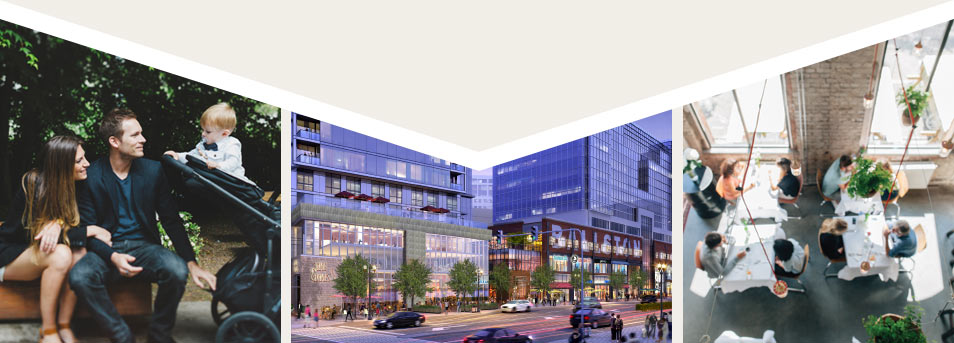 Couple with baby at a park, Renderings of the new Ballston Quarter, Birds eye view of restaurant