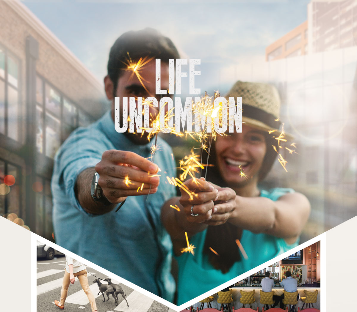 Life uncommon: photo of happy couple holding sparklers, Woman crossing the street with two dogs, Two men at a bar watching sports
