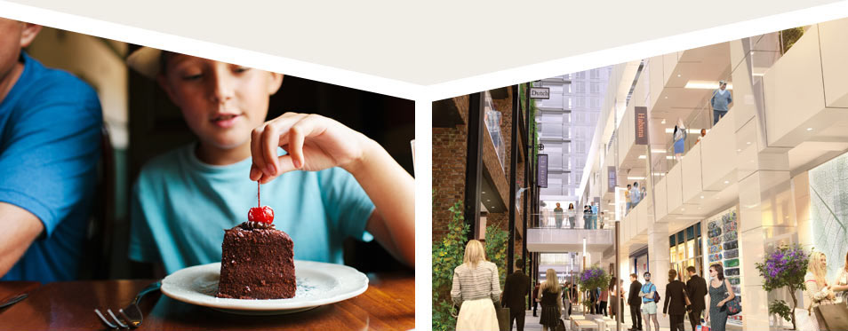 photo of boy gazing at chocolate cake, rendering of Ballston quarter filled with shoppers