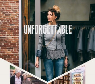 Unforgettable – photo of woman walking out of a clothing shop with bags in hand, Smiling older couple walking arm in arm, Ballston Quarter interior rendering