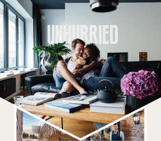 Unhurried: couple relaxing in each others arms on living room sofa, Rendering of Ballston residential, Barista