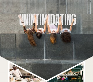 Unintimidating: photo of four women having fun outdoors, Chef cooking, Families at a restaurant
