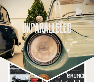 Unparalleled: photo of vintage car, Motorcycle near brunch cafe