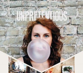 Unpretentious: Woman with blowing a huge bubble with gum, Woman shopping in unique local shop, Table setting with pizza and salad